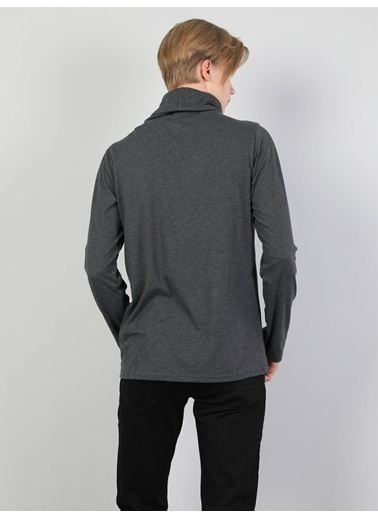 Colin's Normal Kesim Yüksek Yaka Ip Detaylı Erkek Uzun Kol Tişört Antrasit